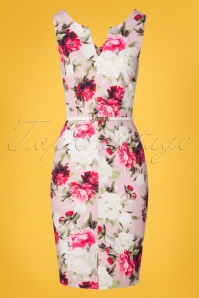 Paper Dolls 50s Mel Floral Pencil Dress in Pink
