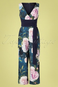 Paper Dolls 60s Beaufort Rose Floral Culotte Jumpsuit in Navy