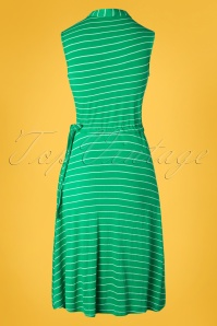 Pretty Vacant 27544 Drawstring Green Striped Dress 20190218 009W