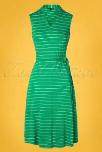 Pretty Vacant 60s Dina Drawstring Dress in Stripe Green