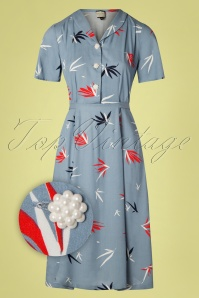 Mademoiselle YéYé 40s A Lovely Moment Dress in Bamboo Blue