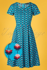 Pretty Vacant 60s Gloria Dress in Lotus Blue