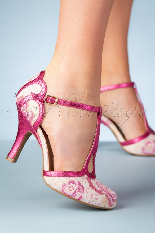 Ruby Shoo 26775 T strap Pump Polly in Fuchsia 20190205 010W