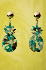 Collectif Clothing 60s Marble Pineapple Earrings in Green