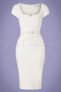 50s Gina Pencil Dress in Ivory