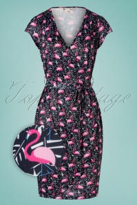 Flamingo Jersey Wrap Dress Années 60 en Bleu Marine