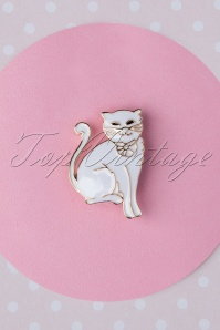 60s Kitty Cat Brooch in White