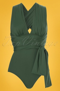 50s Multiway Swimsuit in Olive Green