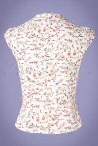 Miss Candyfloss 28654 White Floral Blouse 20190220 007W