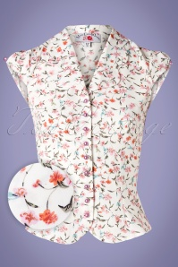 Miss Candyfloss 50s Lula Floral Blouse in White