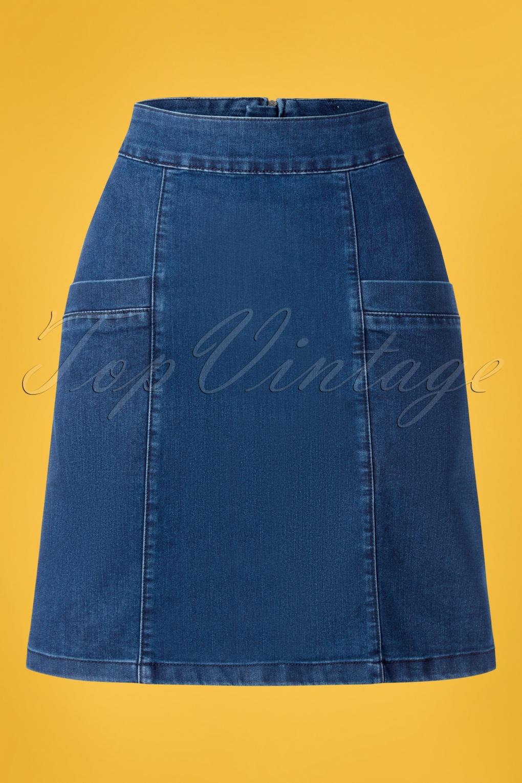 Retro Skirts: Vintage, Pencil, Circle, & Plus Sizes 60s Modern Rock N Roll Skirt in Denim Blue £56.68 AT vintagedancer.com