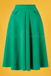 Miss Candyfloss 40s Boheme Gia Bow Swing Skirt in Emerald Green