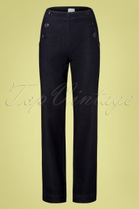 60s Walk On By Trousers in Denim Blue