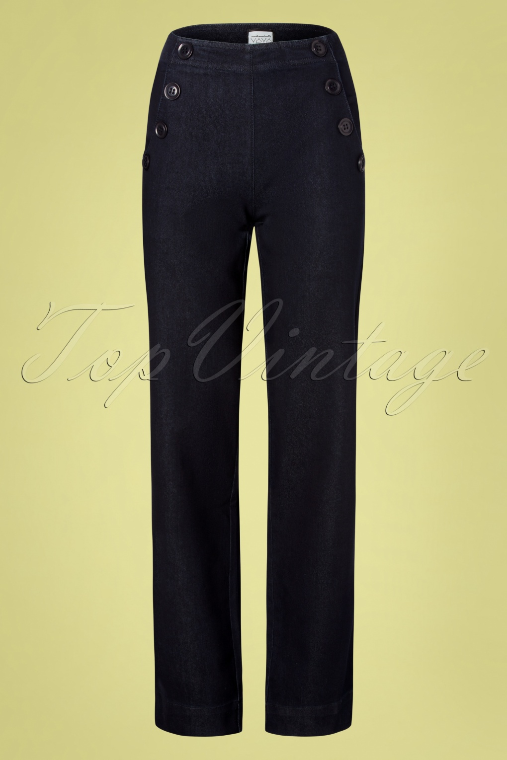 Vintage High Waisted Trousers, Sailor Pants, Jeans 60s Walk On By Trousers in Denim Blue £82.86 AT vintagedancer.com