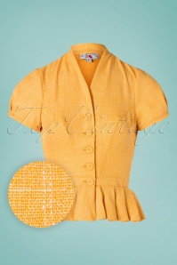 Miss Candyfloss 28657 Tweed Jacket in Yellow 20190220 002W1