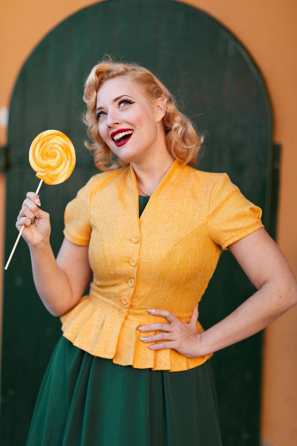 1950s Jackets, Coats, Bolero | Swing, Pin Up, Rockabilly 40s Adrina Short Sleeve Tweed Jacket in Yellow £74.13 AT vintagedancer.com