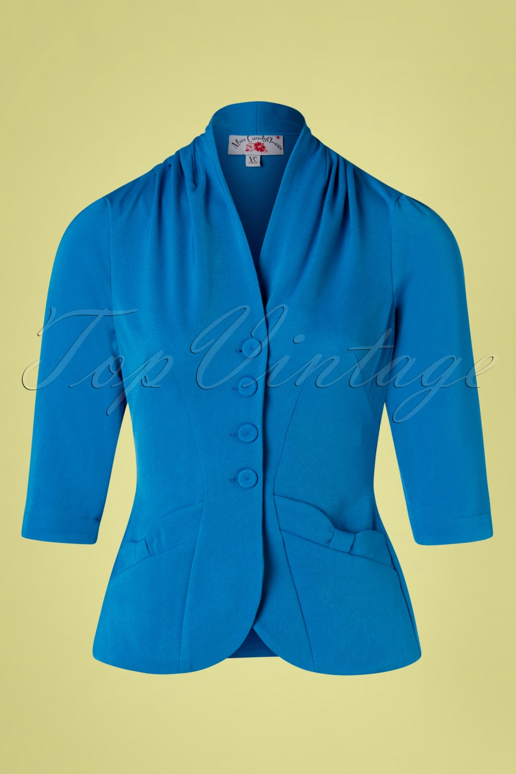 1940s Dresses and Clothing UK | 40s Shoes UK 40s Adelaide Blazer in Blue �72.83 AT vintagedancer.com