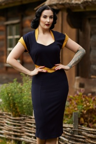 Miss Candyfloss 50s Tremaine Lee Wiggle Dress in Navy and Yellow