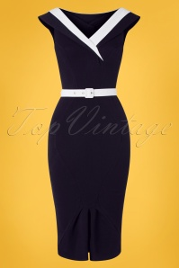 Miss Candyfloss 50s Abigail Wiggle Dress in Navy and White