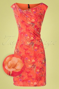 Melinda Floral Pencil Dress Années 60 en Orange