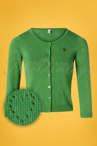 60s Wonderwaist Hope Heart Cardigan in Green