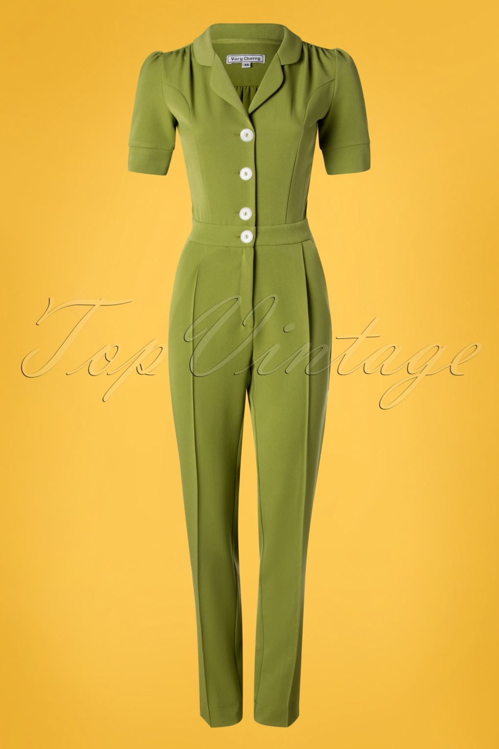 Vintage High Waisted Trousers, Sailor Pants, Jeans 40s Classic Jumpsuit in Olive Green £143.94 AT vintagedancer.com
