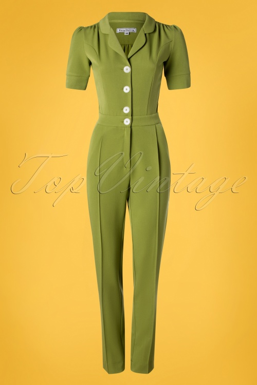 Very Cherry 26995 Classic Jumpsuit Green 20190221 005W