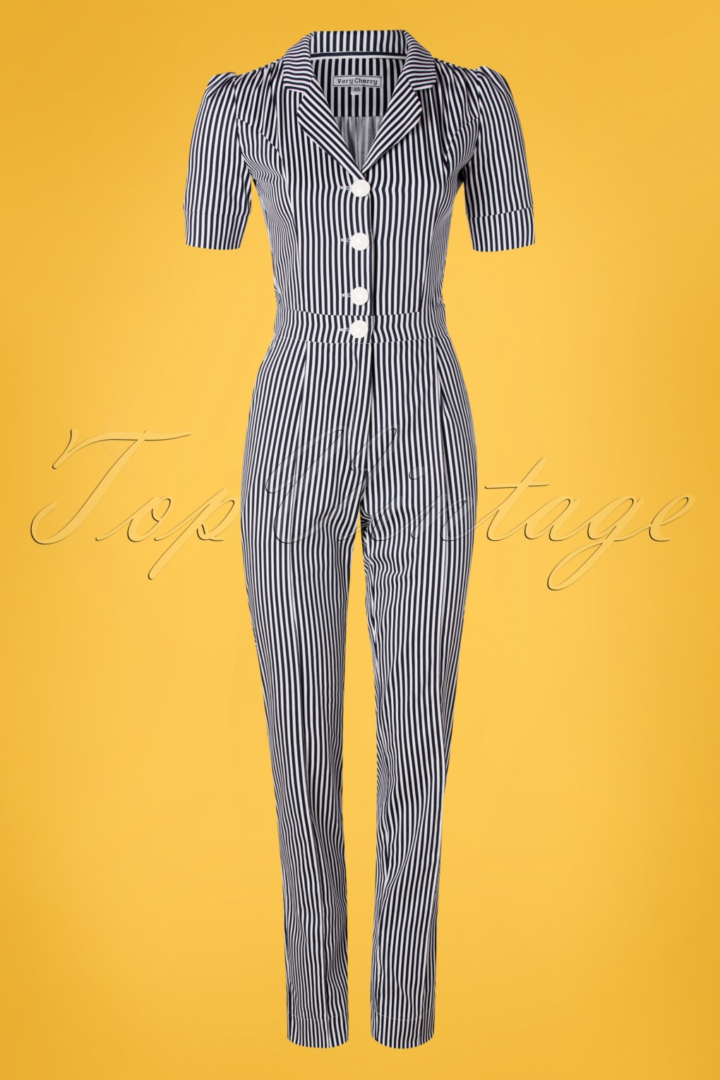 Vintage High Waisted Trousers, Sailor Pants, Jeans 40s Classic Jumpsuit in Navy and White Stripes £143.94 AT vintagedancer.com