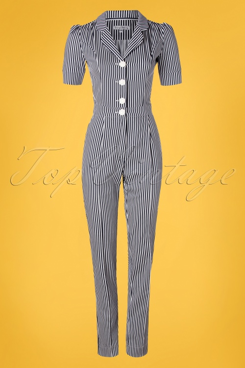 Very Cherry 26996 Classic Striped Jumpsuit 20190221 003W