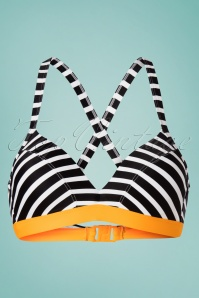 60s Shari Stripes Bikini Top in Black and White