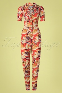 40s Classic Hibiscus Flowers Jumpsuit in Montana Dust