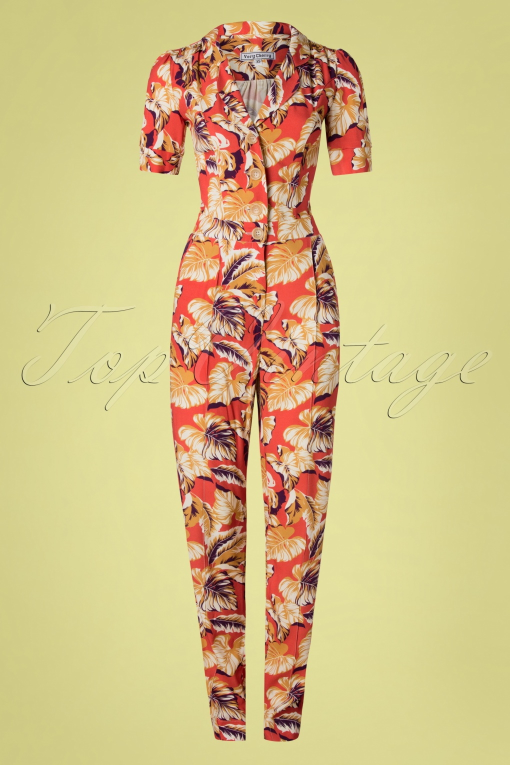 Vintage High Waisted Trousers, Sailor Pants, Jeans 40s Classic Hibiscus Flowers Jumpsuit in Montana Dust £143.94 AT vintagedancer.com