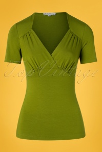 Very Cherry 50s Sandy Short Sleeve Sweetheart Top in Olive Green