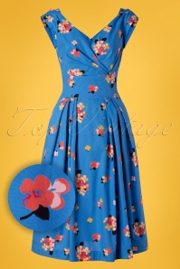 Emily and Fin 50s Florence Sweet Summer Blooms Dress in Blue