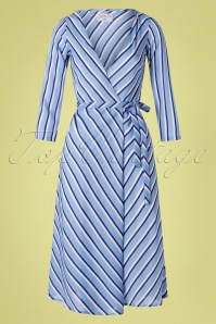 70s Nicole Stripes Wrap Dress in Blue
