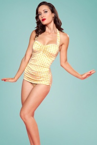 Esther Wiliams 28588 Classic Yellow Checked Swimsuit 2