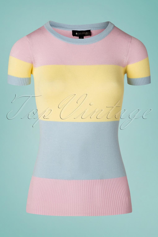 60s Shirts, T-shirts, Blouses, Hippie Shirts 60s Sydney Striped Jumper in Pastel £26.99 AT vintagedancer.com