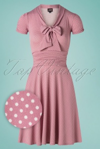 50s Debra Pin Dot Swing Dress in Lilac Pink