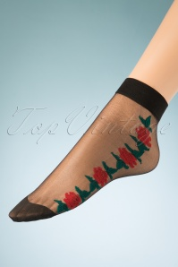 Banned Retro 50s Red Rose Socks in Black