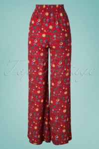 Collectif Clothing 27588 Lucy tropical Floral Trousers in Red 20181217 008W1
