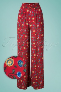 70s Lucy Tropical Floral Flared Trousers in Red