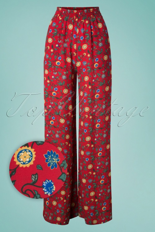 Collectif Clothing 27588 Lucy tropical Floral Trousers in Red 20181217 003W1