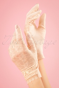 40s Mary Mesh Gloves in Cream