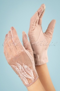 40s Ruth Lace Gloves in Dusty Pink