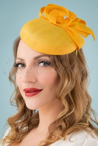 50s Sophie Fascinator in Mustard