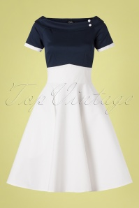 Dolly and Dotty 50s Darlene Swing Dress in Navy and White