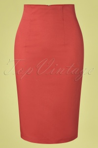 50s Falda Pencil Skirt in Chili Red