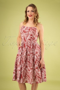 50s Palm Days Dress in Burgundy