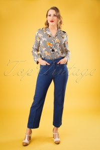 70s Garbo Cropped Denim Pants in Jet Blue