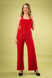 50s Audrina Jumpsuit in Lipstick Red